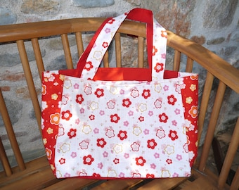 Red Reversible beach bag and white Japan Asian Style flowers