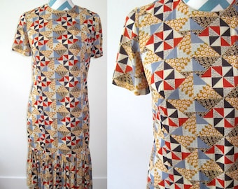 Vintage 1960s Dress with Pleated Skirt - Patchwork Quilt Print with Circles - Red, Gold, Blue Textile - Small Shift Dress