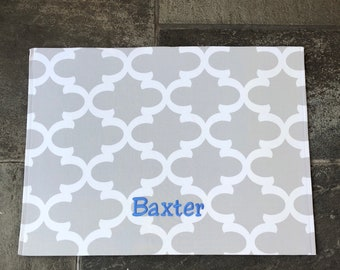 Personalized Pet Placemat   |   Grey  Water Resistant Dog Mat   |  Custom Puppy Dog Gift by Three Spoiled Dogs