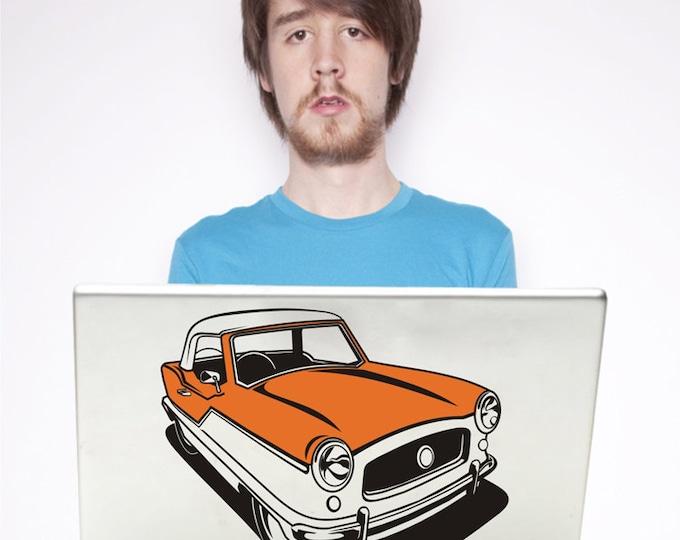 retro car laptop decal, nash metropolitan sticker art, mid century automobile, FREE SHIPPING