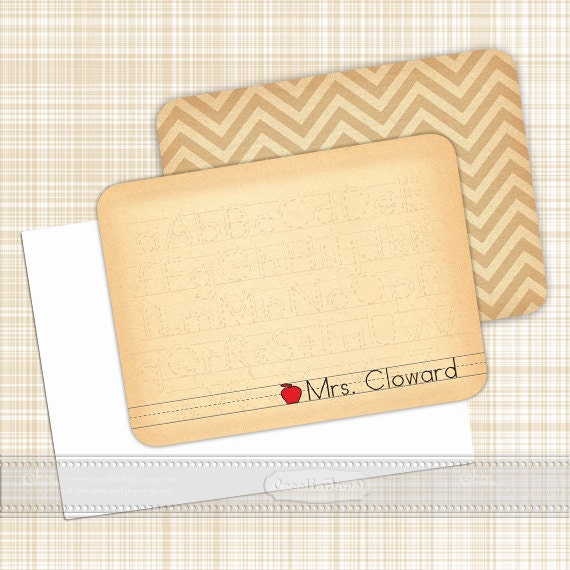 personalized notecards, thank you cards, teacher notecards, chevron notecards, personalized stationery, teacher gifts, notecard sets, NS118