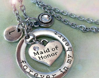 Maid of Honor Necklace, Forever in My Heart Personalized with Letter Charm & Swarovski Birthstone Crystal, Maid of Honor Gift, Weddings