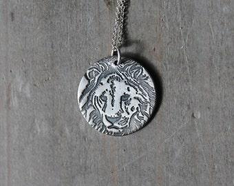 Lion fine silver pendant