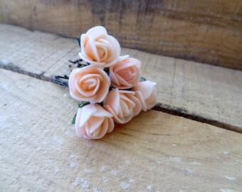 Pink Rose Wedding Hair Pins, Pink Bridal Hair Pins, Flower Girl Hair Accessories, Bridesmaid Hair, Beach Wedding, Woodland - Set of 6