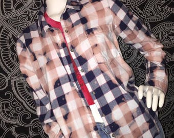 Blue and white bleached flannel XL