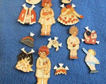 PAPER DOLLS Vintage 1930s - 1940s,  Girls and a Boy, Group of 6 paper dolls