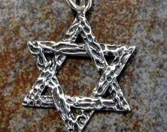 Sterling silver STAR of DAVID charm. Textured charm. 30 x 30mm. Solid Sterling silver charm pendant.