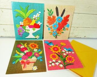 Retro Bright Faux Burlap Greeting Cards, Unused with Envelopes, Set of Four Vintage Birthday Cards