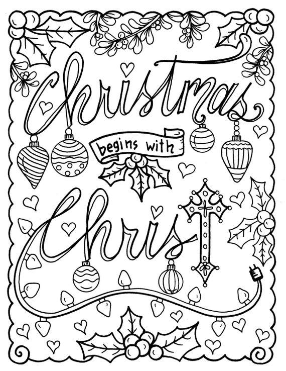5 Seiten Weihnachten Färbung Christian religiösen Schrift