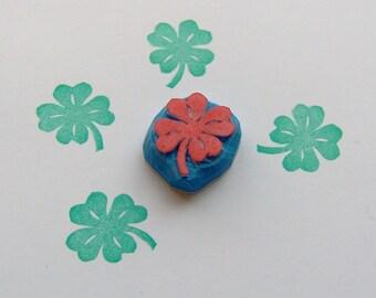 Four Leaf Clover Rubber Stamp, clover stamp, Shamrock Stamp, leaf stamp, plant stamp, nature stamp, lucky stamp, St. Patricks Day, kids, diy