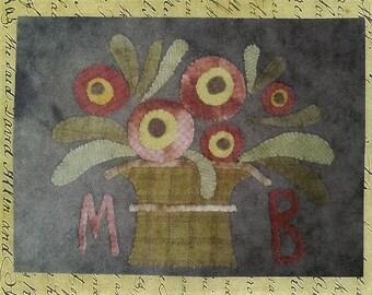 Primitive Wool Applique Pattern - Basket Full of Posies by Maggie Bonanomi