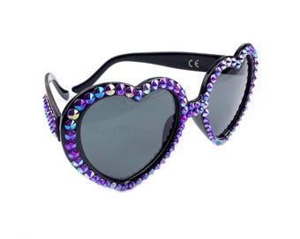 AMETHYST Sparkly Heart Shaped Sunglasses, Purple Sunglasses, Crystal Sunglasses, Statement Bling Shades, Glitzy Sunnies, Kawaii Sunglasses