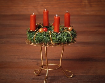 Noble Miniature Advent Wreath on Stand for your Dollhouse
