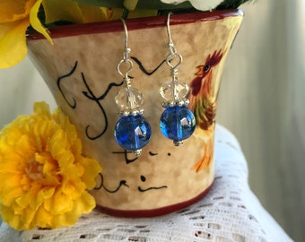 Blue iridescent glass with clear crystal silver dangle earrings