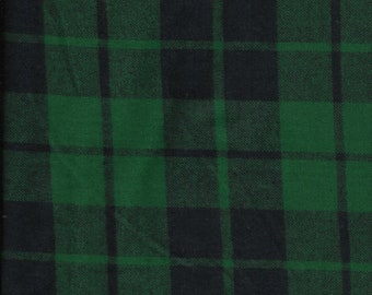 New Green and Black Plaid 100% Cotton Flannel Fabric by the Half Yard