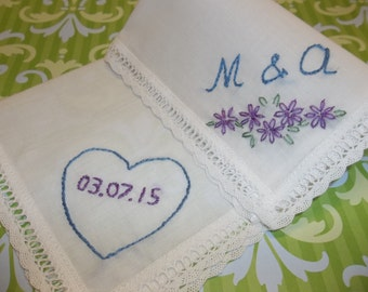monogrammed something blue wedding gift, handkerchief, hand embroidered, flowers with initials , heart, bouquet wrap, wedding colors welcome