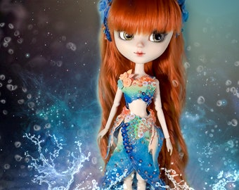 OOAK - Orange and Blue Mermaid Outfit for Pullip