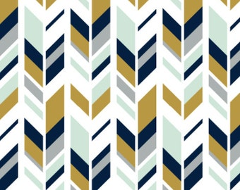Mustard and Navy Feather Fabric by littlearrowdesigncompany - Cotton/ Polyester/ Jersey/ Canvas/ Digital Printed