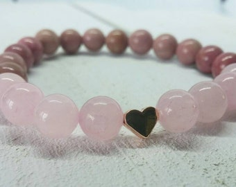 Bracelet made of Strawberry quartz and rhodonite with insertion of a heart with rose gold plated