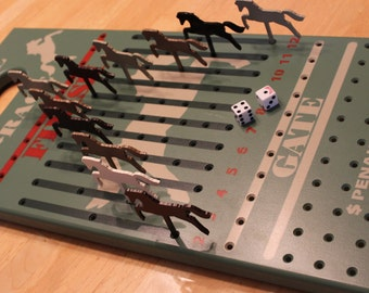 Horse Race Game. Wood Horse Race Game. Kentucky Derby. Wooden Game. Betting Game. Gambling Game. Family Game.