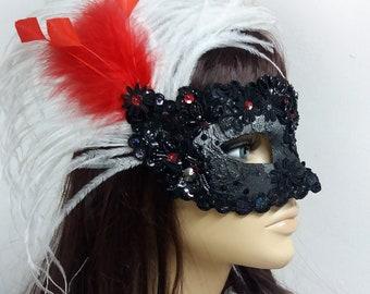 Black masquerade mask with feathers Carnival mask Masquerade masks women Prom mask Venetian masquerade ball mask Halloween mask Mardi gras