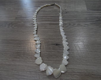 Vintage White Mother of Pearl Heart Necklace Beaded Shell Jewelry