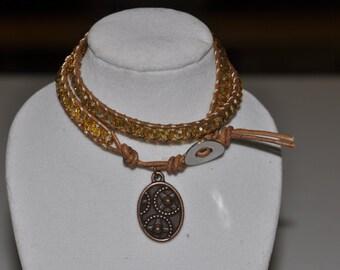 SALE! Double Wrap Bracelet Golden Crystal #505 One Of A Kind