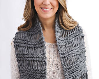 Knitting Pattern - Drop Stitch Scarf with Fringe // Young Love