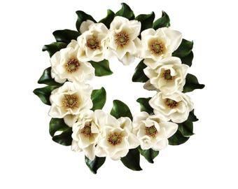 Blossoming Magnolia Wreath | Spring Wreath | Front Door Wreaths | Magnolia Leaves | Farmhouse Decor | Magnolia Decor