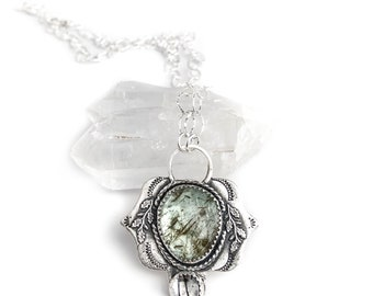 Emerald and Sterling Silver Pendant Necklace - Soft Natural Emerald with Tourmalinated Quartz and Sterling Silver Vine Stamped Pendant