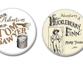 Tom Sawyer & Huckleberry Finn Buttons set of 2! (25mm, mark twain , badges, pins, children's books)
