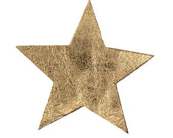 applique star cracked gold leather lightweight 10 cm