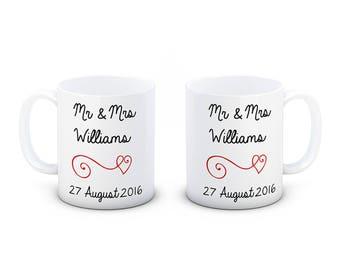 Personalised Pair of Ceramic Wedding Mugs - Beautifully Hand Decorated