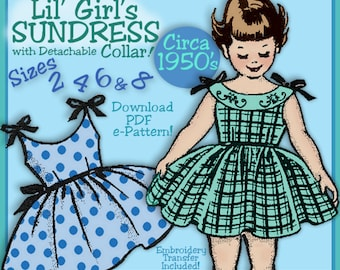 Girls SWEET SUNDRESS 1950s VINTAGE e-pattern 4 Sizes included - Sister Sets - Download Pdf