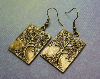 Tree of Life Earrings, World Tree Earrings, Ygddrissl Earrings - Everyday Antique Brass Spiritual Earrings Druid - SE-GSP256