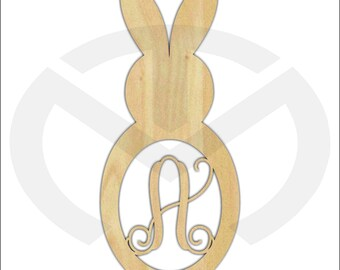 Unfinished Wood Bunny Rabbit Monogram Door Hanger Laser Cutout w/ Your Initial (style 1), Home Decor, Script, Easter, Spring Decor