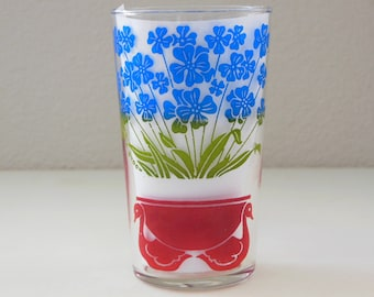 Swan and Violets Glass Cup Tumbler Red Swans Violet Flowers 8 Oz Tumbler Juice Glass