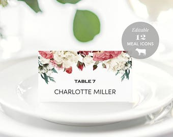 Wedding Place Card Printable Place Card Template Meal Choice - Place cards with meal choice template