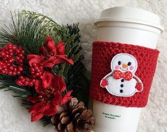 Snowman Frosty Crochet Coffee Cozy