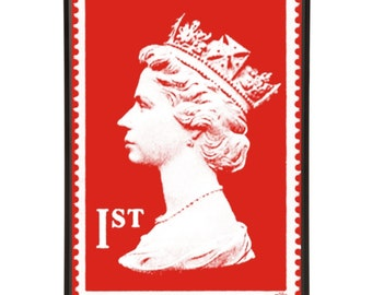1st Class Royal Mail Postage Stamp Queens Head First Class Stamp Pop Art Print London England British Postal Poster Minimal Decor Interior