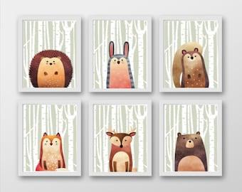 Woodland Animals Set 6 Prints (Half Animal)