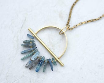 DRIFTER / Raw Kyanite & Brass Necklace, Rough Stone Pendant, Modern Bohemian Jewelry, Blue Stone, Geometric Necklace, Boho Necklace