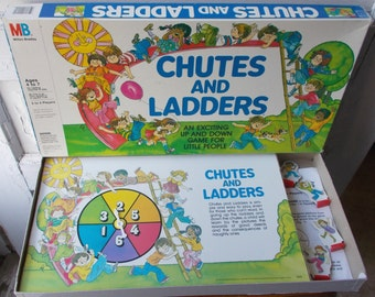 Vintage Chutes and Ladders Board Game Milton Bradley Complete