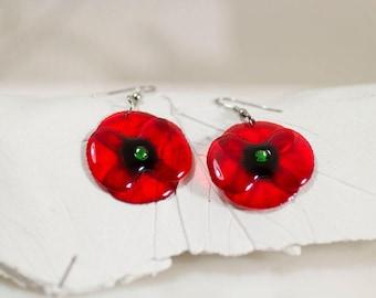 Handmade Poppy earrings. Come in a gift box