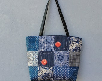 Navy Blue Bag Tote Patchwork and Quilted Vintage Fabrics