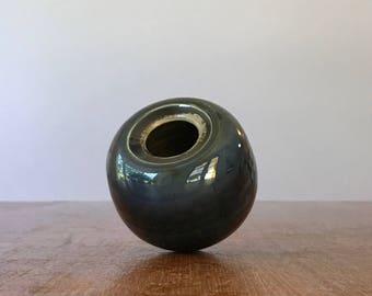 Tiny Vintage Ceramic Studio Pottery Bud Vase / Weed Pot Indigo Blue