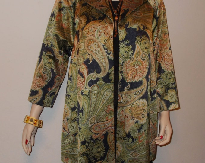 Vintage 90s Doncaster Special Occasion High Fashion Green Paisley Cocktail Evening Womens Coverup Above The Knee Mini Coat Jacket Deadstock