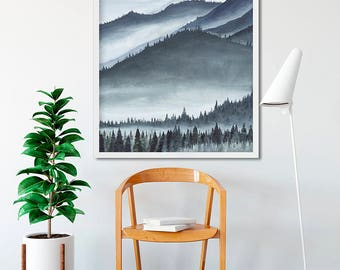 Foggy Mountains Watercolor Print - FREE SHIPPING