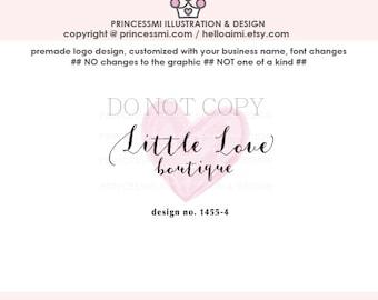 1455-4  watercolour logo, logo heart, logo branding,  boutique logo, small business logo, whimsical logo, photography branding, watermark