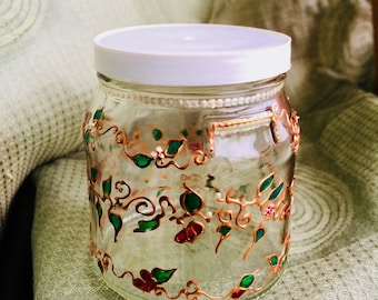 Floral decorative hand painted glass jar/creative storage/glass art/decorative glassware